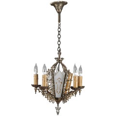 Antique Gothic Pierced Bronze and Gilt Glass 5-Candle Light Chandelier