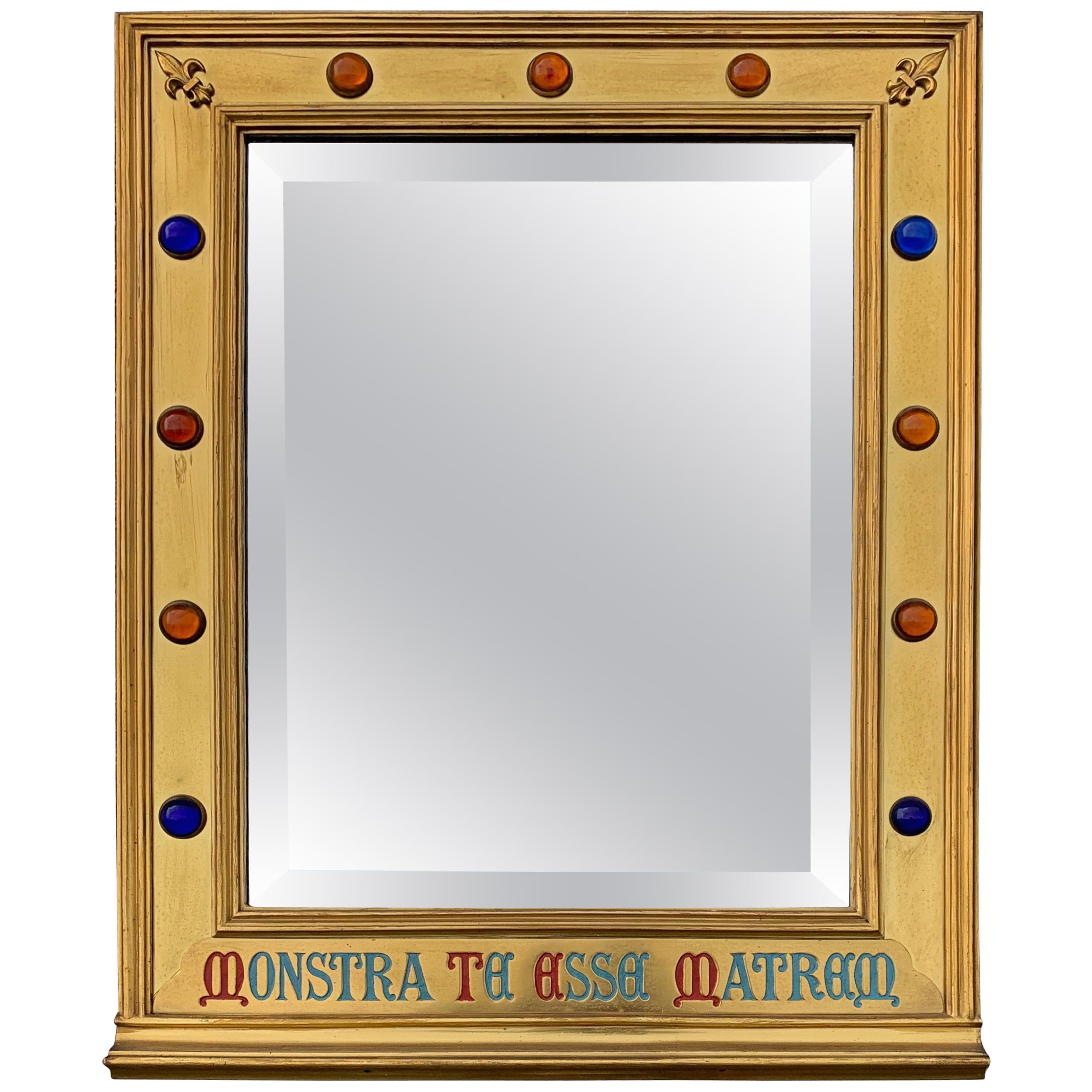 Gothic Revival Gilt Brass on Wood Wall Mirror with Glass Stones and Latin Phrase