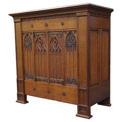 Antique Gothic Revival Credenza Sideboard Cabinet W. Hand Carved Church Windows