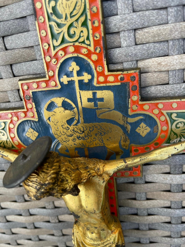 Antique Gothic Revival Crucifix w. Bronze Corpus and Enamelled Sculptured Cross For Sale 6
