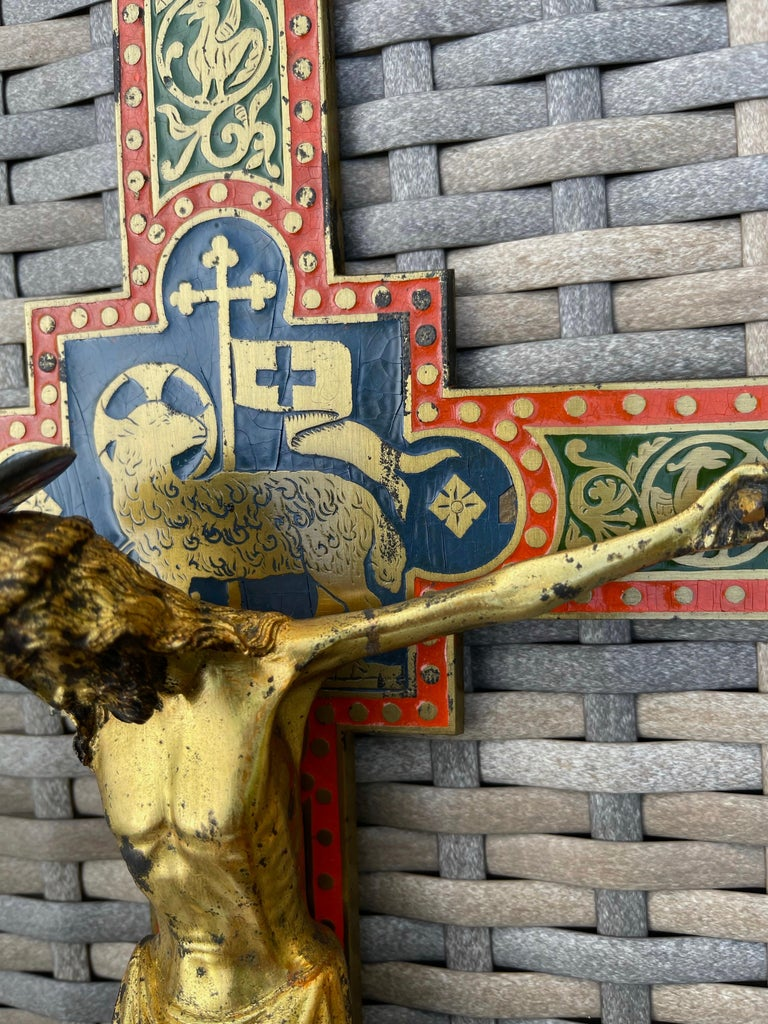 Antique Gothic Revival Crucifix w. Bronze Corpus and Enamelled Sculptured Cross For Sale 10