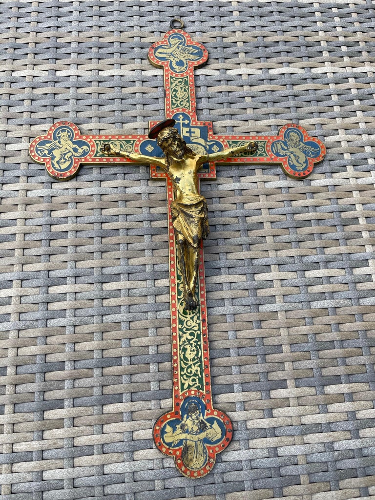 Antique Gothic Revival Crucifix w. Bronze Corpus and Enamelled Sculptured Cross For Sale 11