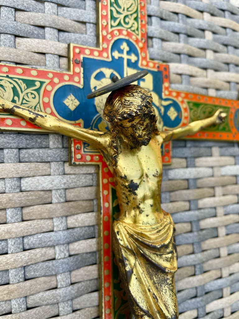 Antique Gothic Revival Crucifix w. Bronze Corpus and Enamelled Sculptured Cross For Sale 12