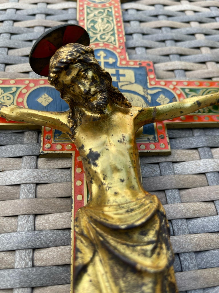 French Antique Gothic Revival Crucifix w. Bronze Corpus and Enamelled Sculptured Cross For Sale