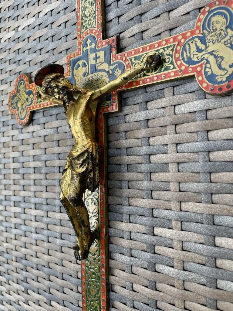 Cast Antique Gothic Revival Crucifix w. Bronze Corpus and Enamelled Sculptured Cross For Sale