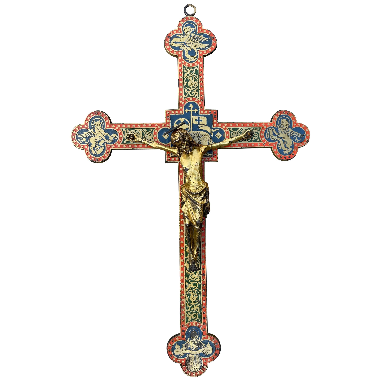 Antique Gothic Revival Crucifix w. Bronze Corpus and Enamelled Sculptured Cross