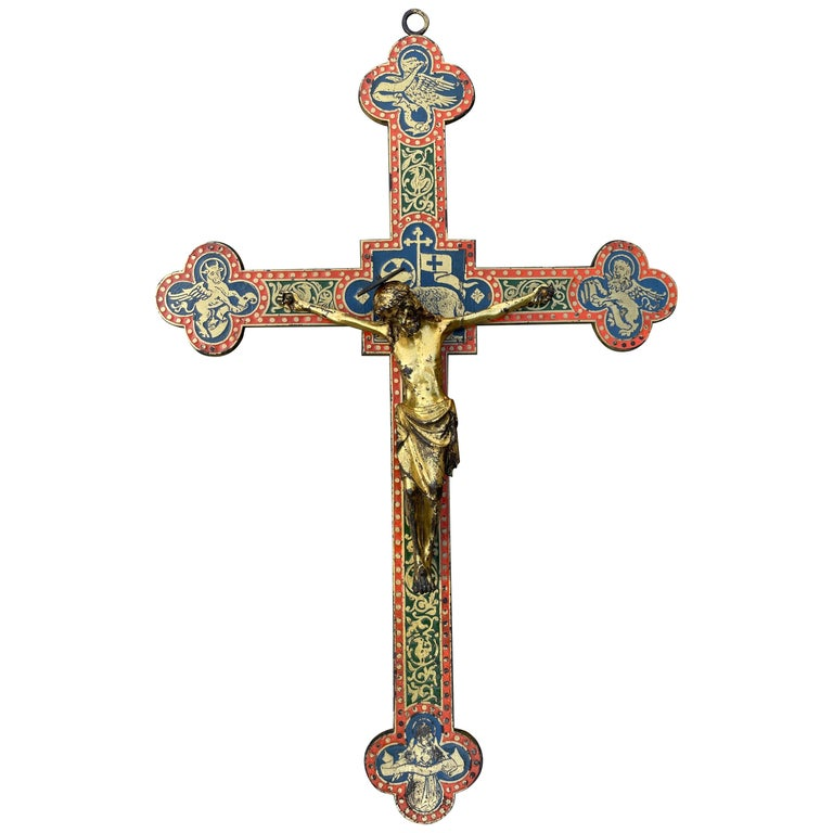 Antique Gothic Revival Crucifix w. Bronze Corpus and Enamelled Sculptured Cross For Sale