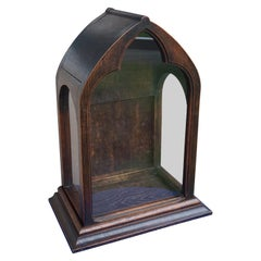 Antique Gothic Revival Glass and Oak Chapel / Display Cabinet for a Saint Statue
