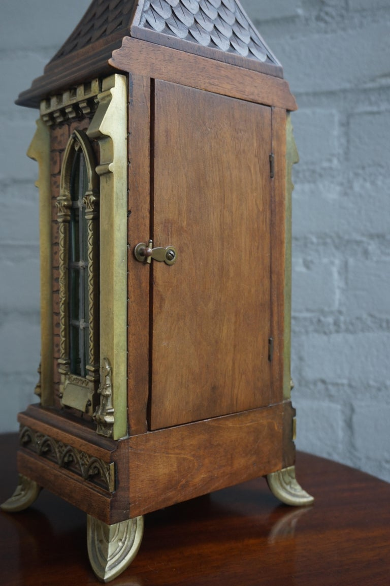 Antique Gothic Revival Hand Carved Nutwood & Bronze Table Clock by Samuel Marti 4