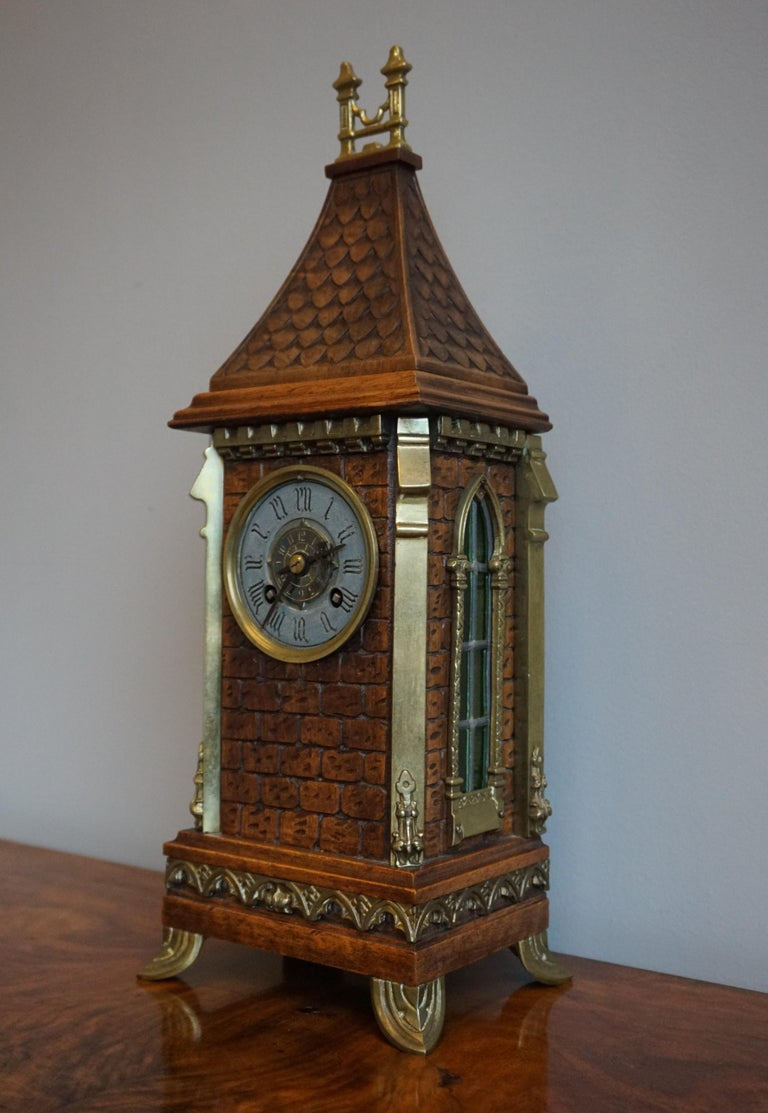 Antique Gothic Revival Hand Carved Nutwood & Bronze Table Clock by Samuel Marti 5