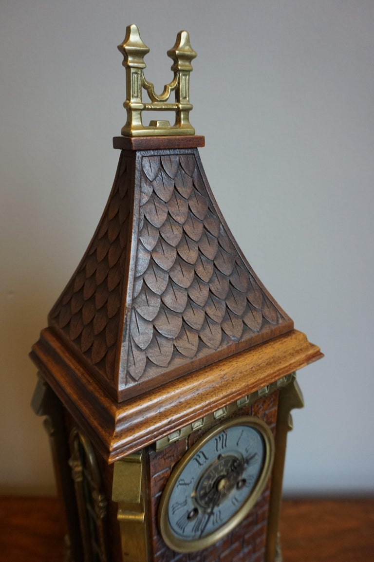Antique Gothic Revival Hand Carved Nutwood & Bronze Table Clock by Samuel Marti 12