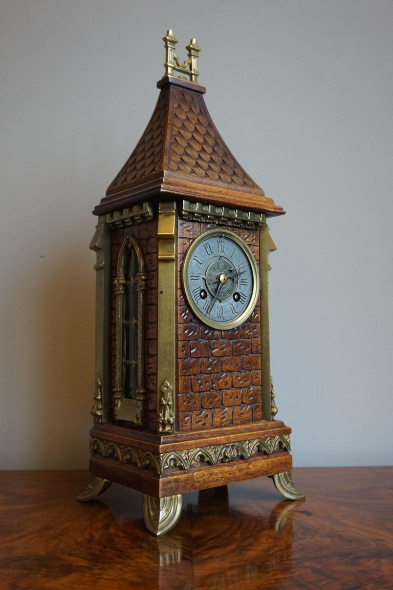 Antique Gothic Revival Hand Carved Nutwood & Bronze Table Clock by Samuel Marti 13