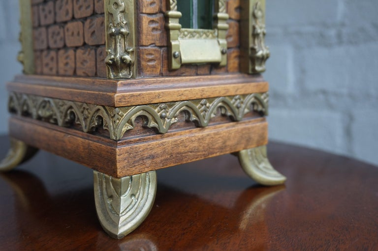 French Antique Gothic Revival Hand Carved Nutwood & Bronze Table Clock by Samuel Marti