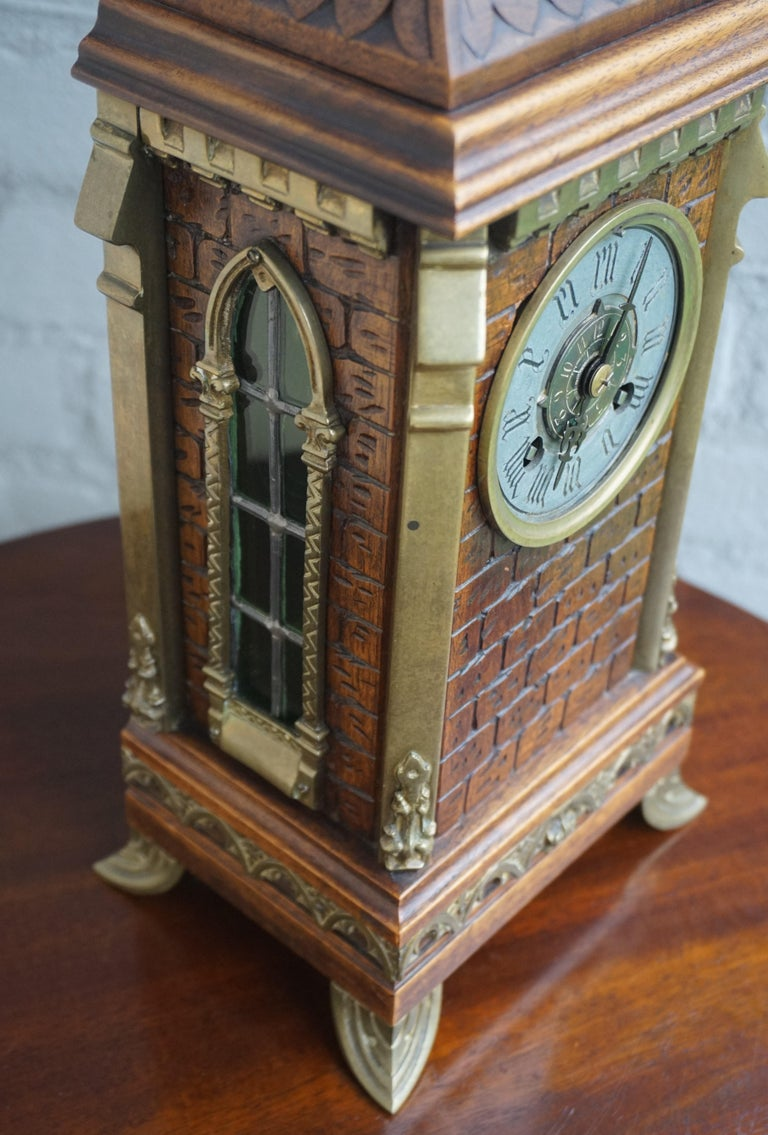 Hand-Carved Antique Gothic Revival Hand Carved Nutwood & Bronze Table Clock by Samuel Marti