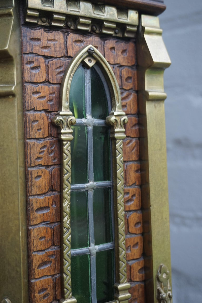 Antique Gothic Revival Hand Carved Nutwood & Bronze Table Clock by Samuel Marti In Excellent Condition In Lisse, NL