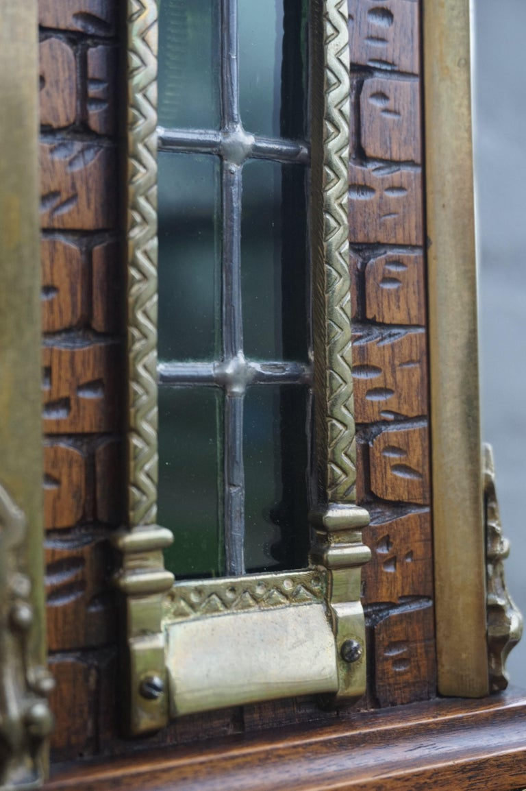 20th Century Antique Gothic Revival Hand Carved Nutwood & Bronze Table Clock by Samuel Marti