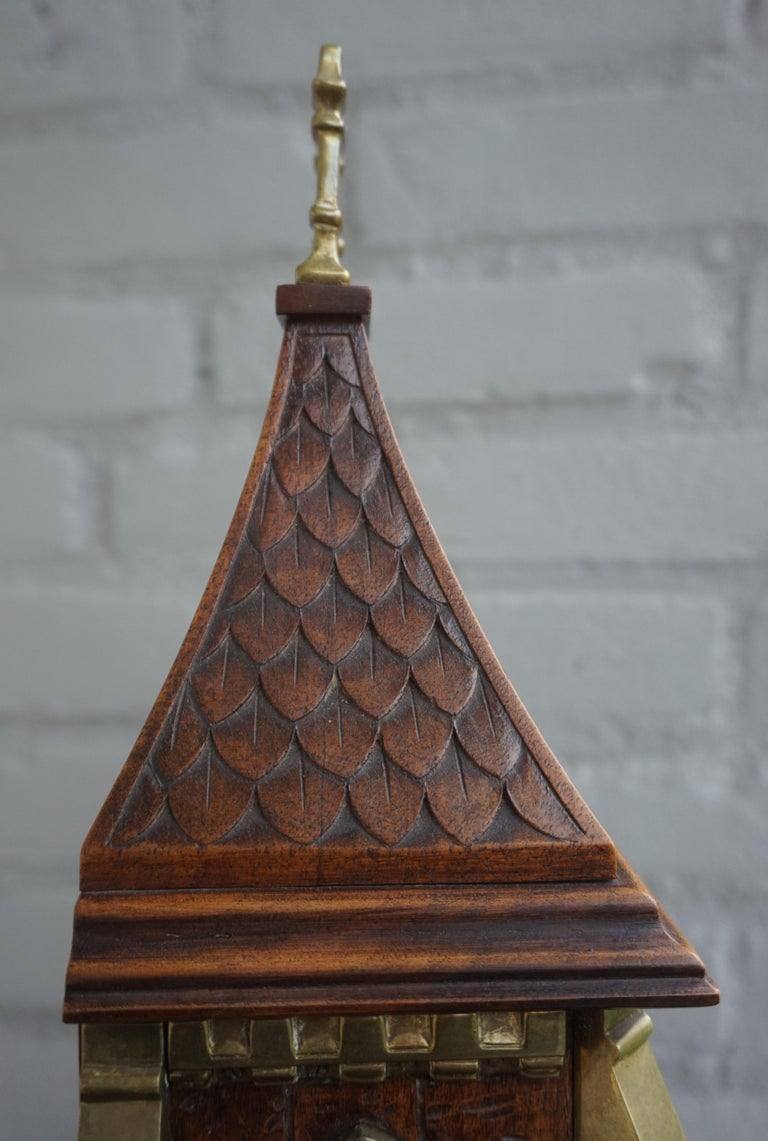 Antique Gothic Revival Hand Carved Nutwood & Bronze Table Clock by Samuel Marti 2