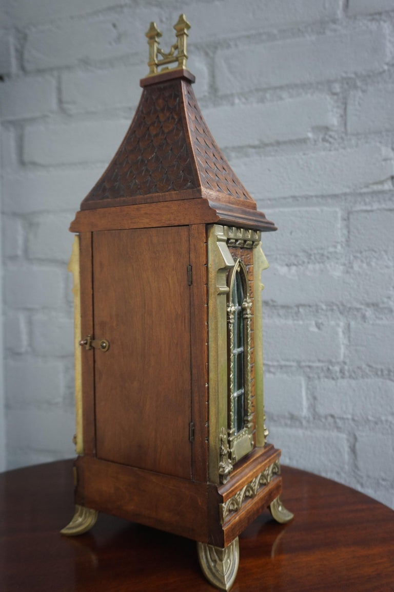 Antique Gothic Revival Hand Carved Nutwood & Bronze Table Clock by Samuel Marti 3