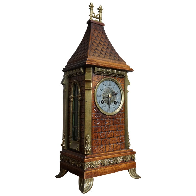 Antique Gothic Revival Hand Carved Nutwood & Bronze Table Clock by Samuel Marti