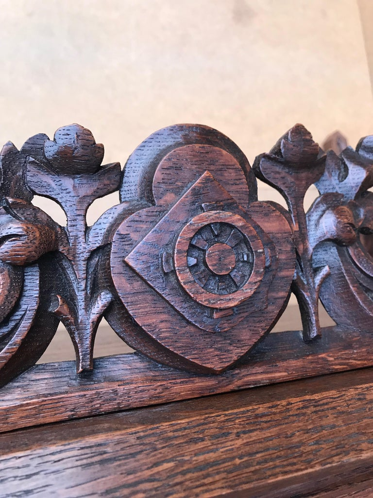 Antique Gothic Revival Hand Carved Oak Wall Cabinet with Gargoyles Sculptures For Sale 8