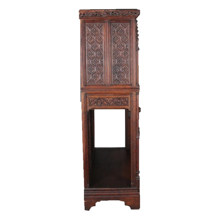 Antique Gothic Revival Heavily Carved Oak Figural & Pictorial Cabinet circa 1880 For Sale 5