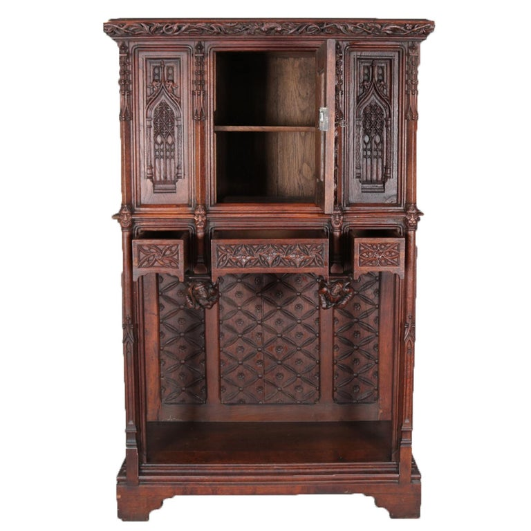 European Antique Gothic Revival Heavily Carved Oak Figural & Pictorial Cabinet circa 1880 For Sale