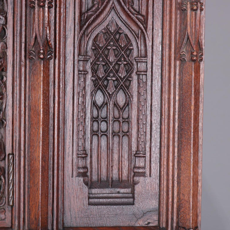 Antique Gothic Revival Heavily Carved Oak Figural & Pictorial Cabinet circa 1880 In Good Condition For Sale In Big Flats, NY