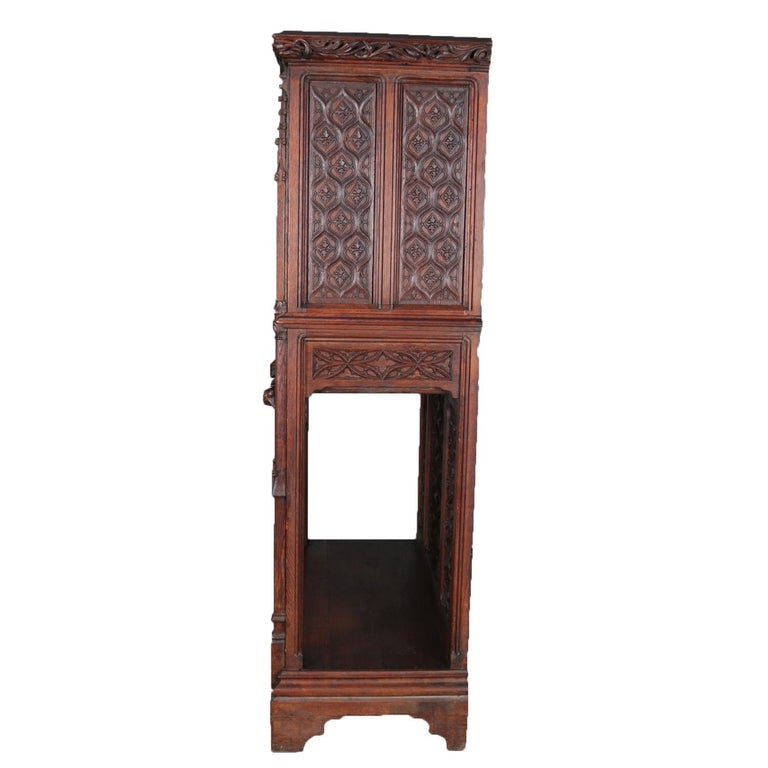 Antique Gothic Revival Heavily Carved Oak Figural & Pictorial Cabinet circa 1880 For Sale 2