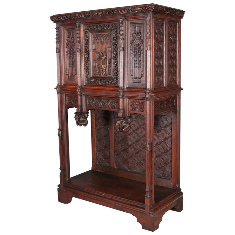 Antique Gothic Revival Heavily Carved Oak Figural & Pictorial Cabinet circa 1880 For Sale