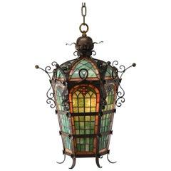 Antique Gothic Revival Leaded Slag Glass Chandelier Pendant