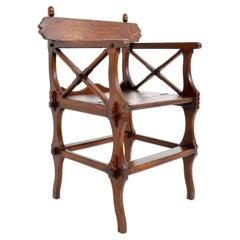 Antique Gothic Revival Metamorphic Oak Library Chair, A.W. Pugin, circa 1860