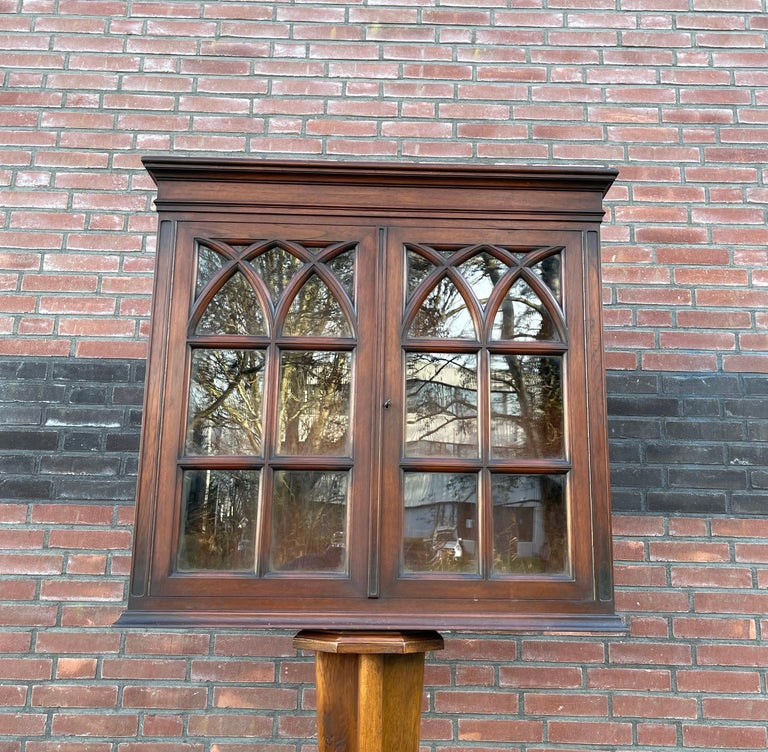 Antique Gothic Revival Solid Mahogany Hanging Wall Cabinet with Church Windows For Sale 3