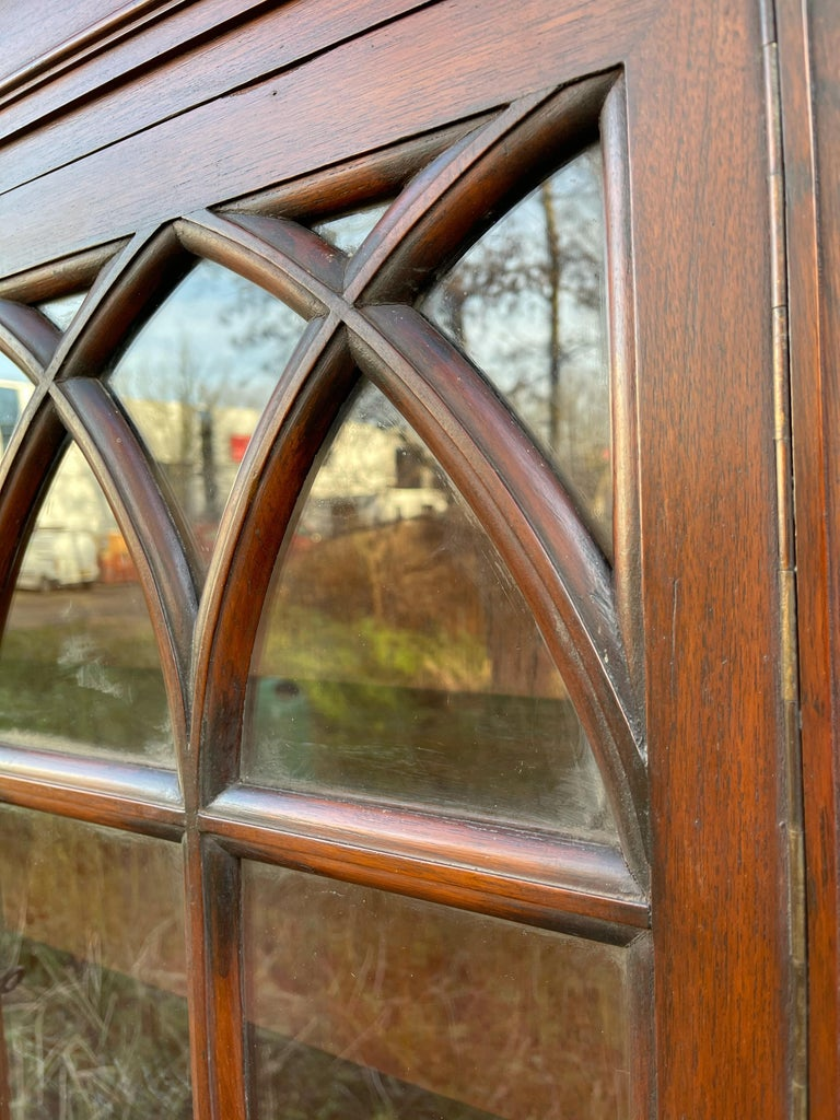 Antique Gothic Revival Solid Mahogany Hanging Wall Cabinet with Church Windows For Sale 7