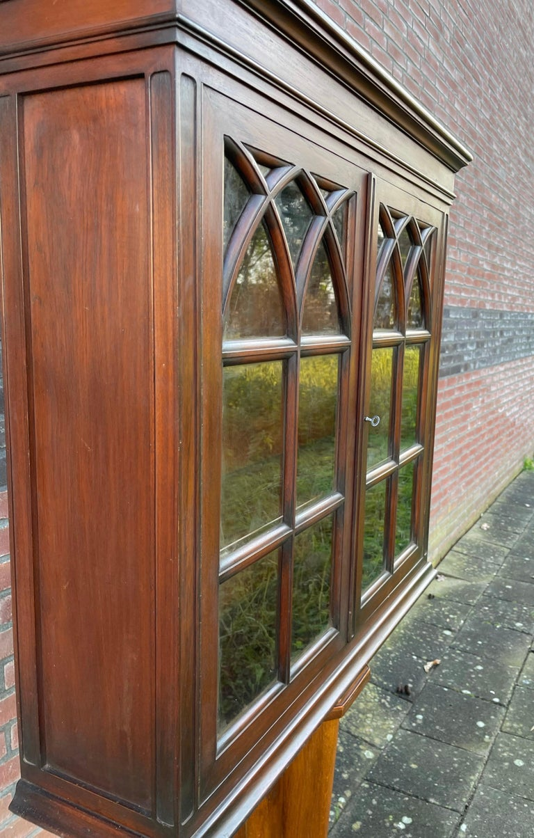 Antique Gothic Revival Solid Mahogany Hanging Wall Cabinet with Church Windows For Sale 8
