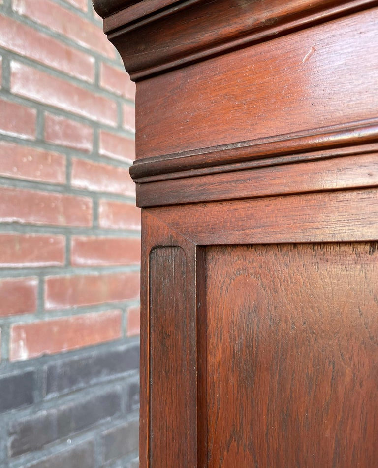 Antique Gothic Revival Solid Mahogany Hanging Wall Cabinet with Church Windows For Sale 9