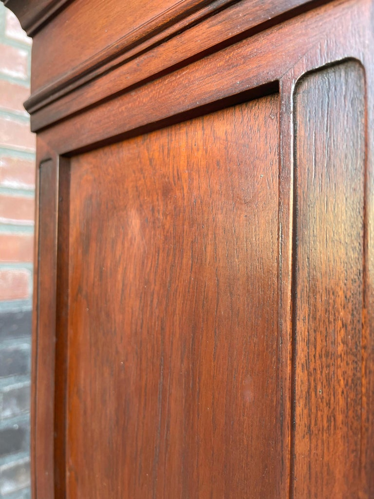 Antique Gothic Revival Solid Mahogany Hanging Wall Cabinet with Church Windows For Sale 11