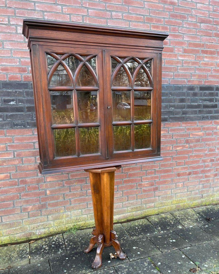 Antique Gothic Revival Solid Mahogany Hanging Wall Cabinet with Church Windows For Sale 12