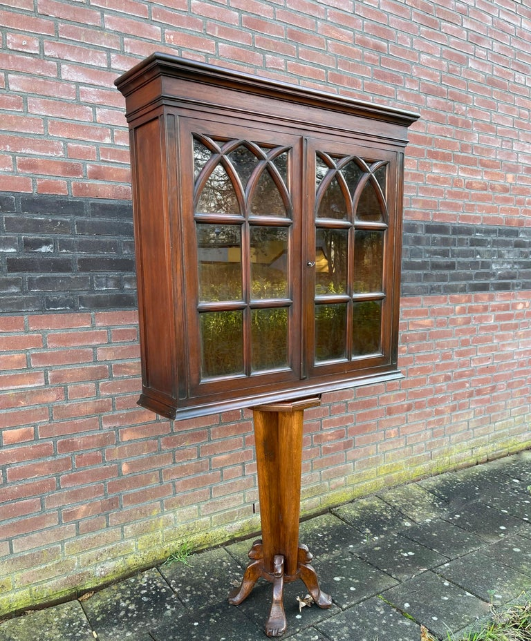 Antique Gothic Revival Solid Mahogany Hanging Wall Cabinet with Church Windows For Sale 13