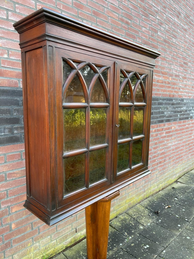 European Antique Gothic Revival Solid Mahogany Hanging Wall Cabinet with Church Windows For Sale