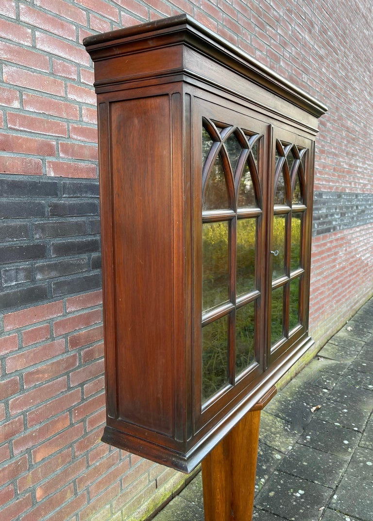 Antique Gothic Revival Solid Mahogany Hanging Wall Cabinet with Church Windows For Sale 2