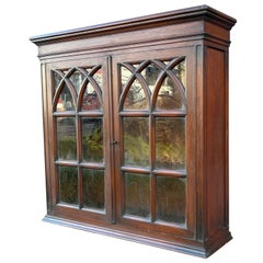 Antique Gothic Revival Solid Mahogany Hanging Wall Cabinet with Church Windows