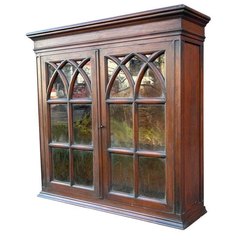 Antique Gothic Revival Solid Mahogany Hanging Wall Cabinet with Church Windows For Sale