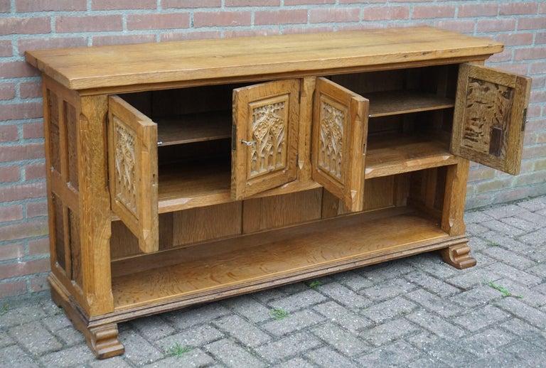 Antique Gothic Revival Solid Oak Sideboard / Sidetable / 1920s 4-Door Credenza For Sale 3