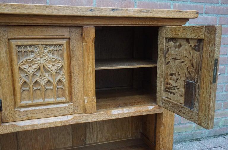 Antique Gothic Revival Solid Oak Sideboard / Sidetable / 1920s 4-Door Credenza For Sale 4