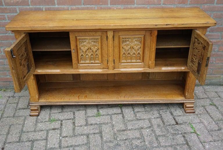 Antique Gothic Revival Solid Oak Sideboard / Sidetable / 1920s 4-Door Credenza For Sale 5