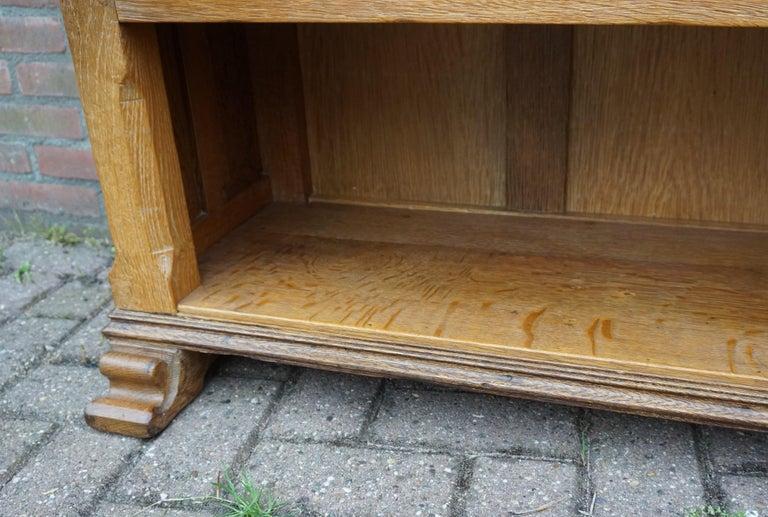 Antique Gothic Revival Solid Oak Sideboard / Sidetable / 1920s 4-Door Credenza For Sale 6