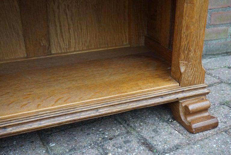 Antique Gothic Revival Solid Oak Sideboard / Sidetable / 1920s 4-Door Credenza For Sale 7