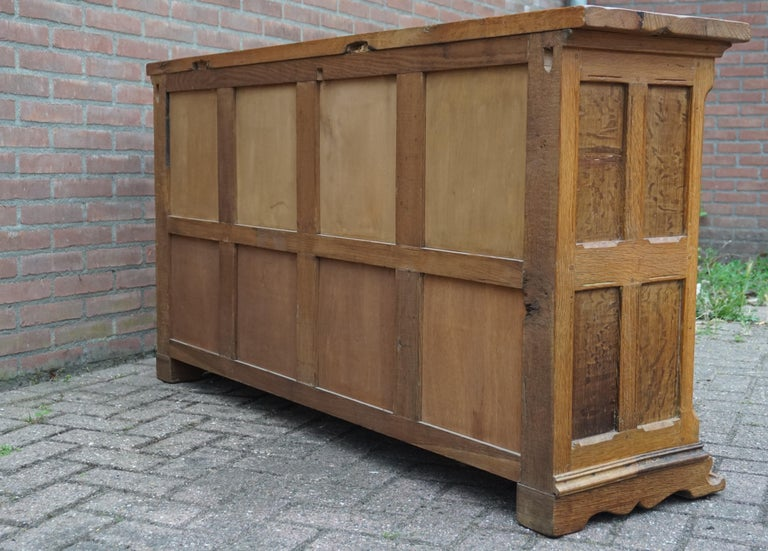 Antique Gothic Revival Solid Oak Sideboard / Sidetable / 1920s 4-Door Credenza For Sale 9