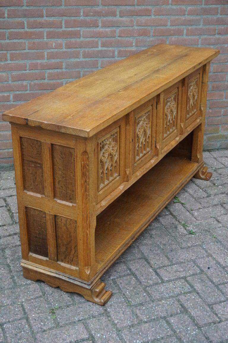 Antique Gothic Revival Solid Oak Sideboard / Sidetable / 1920s 4-Door Credenza For Sale 11