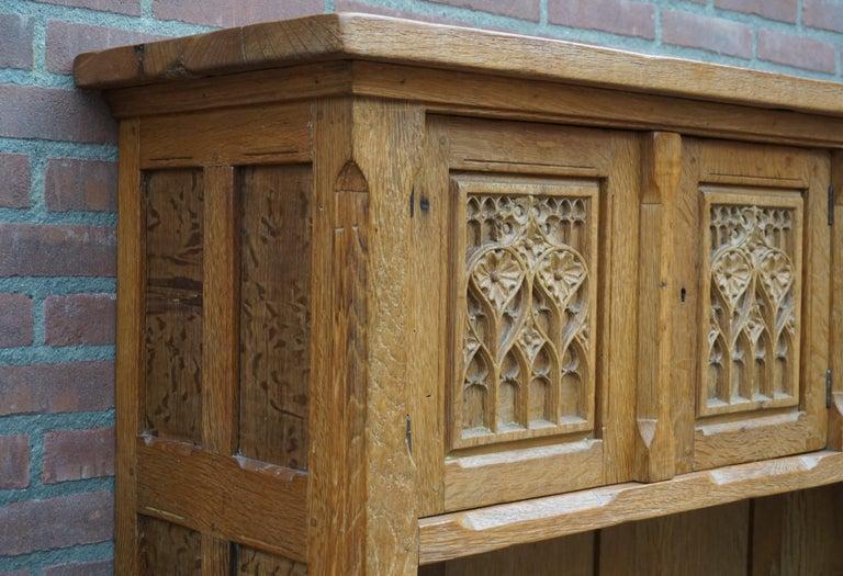 Antique Gothic Revival Solid Oak Sideboard / Sidetable / 1920s 4-Door Credenza For Sale 12